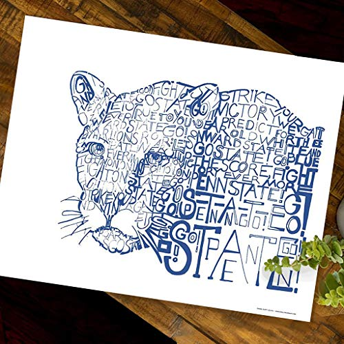Nittany Lion Word Art - Unframed 16x20 - Handwritten with the PSU Fight Song - Penn State Gifts &...