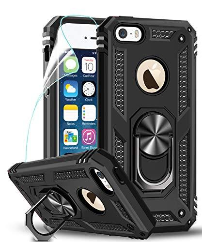 LeYi kompatibel with Hülle iPhone SE 2016/5S/5 Handyhülle mit Folie Schutzfolie,360 Grad Ringhalter Cover Bumper Stoßdämpfung Schutzhülle für Hülle Apple iPhone SE 2016 /5S/5 Handy Hüllen Schwarz
