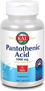 KAL Pantothenic Acid Sustained Release 1000mg | For Energy Storage & Release | Supports Metabolism of Carbs, Fats & Protei...