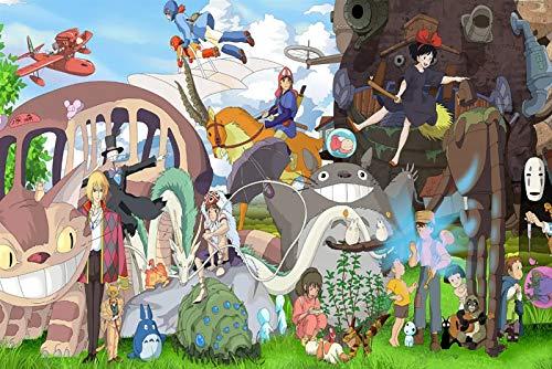 Dibujos animados Anime DIY Puzzles-Hayao Miyazaki Colección de anime-1000 Piezas de rompecabezas de alto dificultad de madera para adultos de descompresión de adultos Juguetes para niños Juegos de fam