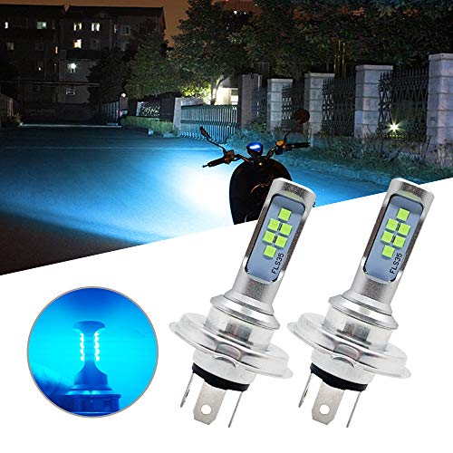 RUICA H4 HS1 LED Bulbs 3535 12SMD Chips High/Low Beam Motorcycle Headlamp Fog Lamp for Car, Ice Blue, Pack of 2