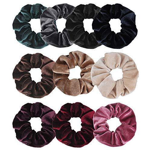 Jaciya 10 Pack Hair Elastics Scrunchies Velvet Scrunchy Bobbles Soft Elegant Elastic Hair Bands Hair Ties, 10 Colors