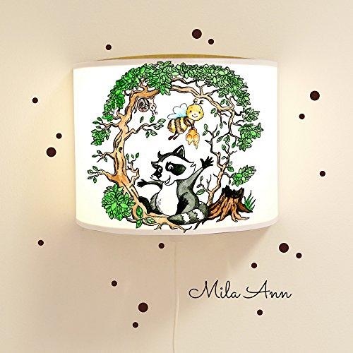 leseschl ummer Lampe Liseuse Schlummersack Lampe Lampe raton laveur et abeille dans la forêt à pois et prénom au choix avec éléments fluoreszierenden et nachleucht Effet LS16