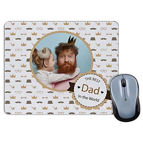 LolaPix Tapettino Mouse Personalizzato con Nome. Festa del papà Regalo Personalizzato. Vari Modelli. Forma Rettangolare. The Best Dad