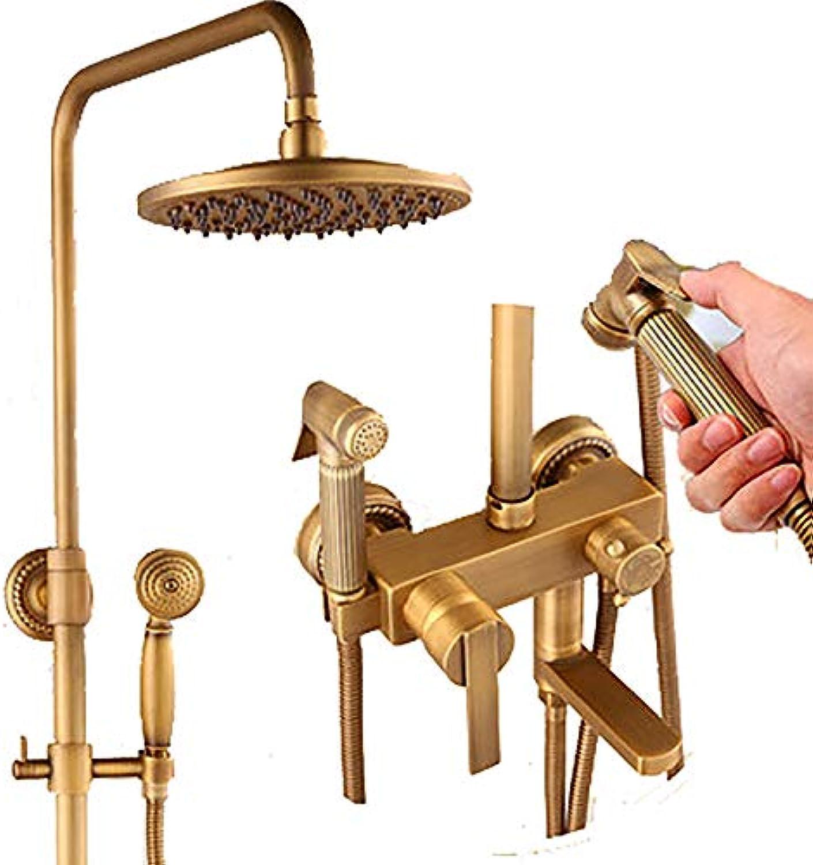 YYF-SHOWER Duschsystem Vintage-Modeduschset, Kupfer Material, An Der Wand Montiert Familie Hotel Kalter Heier Wasserhahn 3-Loch-InsGrößetion (Farbe   Messing, gre   J)