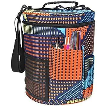 CNSSKJ Estuche para agujas de tejer para lana, ganchos de ganchillo, agujas de tejer, fácil de transportar, organizador para agujas de ganchillo con cinturón ajustable #4174 Geométrico: Amazon.es: Hogar