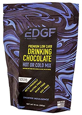 Keto Drinking Chocolate by Edge - Premium Cold or Hot Mix | (1) 10 Ounce Pouch | Vegan, non-GMO, Dairy Free, and Soy Free!