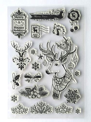 MaGuo Happy Holiday Christmas Reindeer Clear Stamps for DIY Scrapbooking and Card Making Decoration