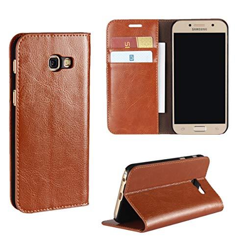 Copmob Hülle Kompatibel mit Samsung Galaxy A3 2017,Premium Flip Brieftasche Ledertasche Schutzhülle,[3 Kartenfach] [Standfunktion][Stoßfestes TPU],Handyhülle für Samsung Galaxy A3 2017 - Hellbraun