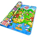 Baby Play Mat Baby Kid Toddler Play Crawl Mat Fruits Alphabets Pattern Reversible Carpet Playmat Foam Blanket Rug Infants Toddler and Kidsfor in or Out Doors