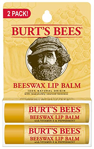 Burt#039s Bees 100% Natural Origin Moisturizing Lip Balm Original Beeswax 2 Tubes in Blister Box