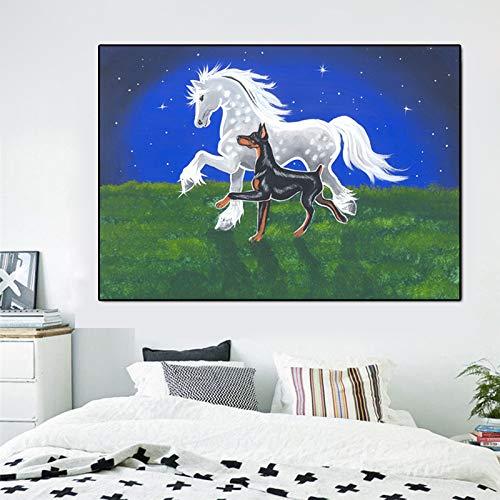 YuanMinglu Fantasie Ölgemälde Tänzer und Pferd Hund Dubin Wunder Wandbild Familiendekoration Wandkunst Bild rahmenloses Gemälde 90X120CM