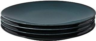 ProCook Del Mar - Vaisselle de Table en Porcelaine - 4 Pièces - Assiette à Dessert - 22cm - Glaçure Réactive - Bleu