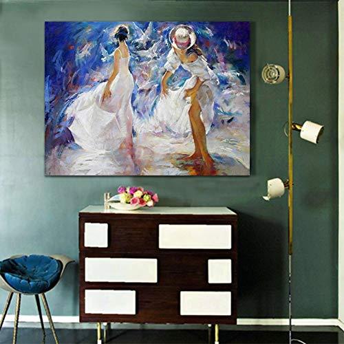 ZWBBO canvas schilderij decoratief schilderij wandschilderij danseres olieverfschilderij handgeschilderd op canvas voor wooncultuur wanddecoratie goedkoop