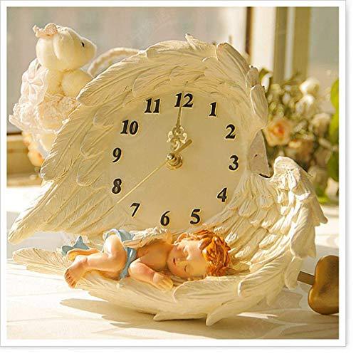 WYYAF Wandklok, creatieve engel-wandklok hangtafel woonkamer pastelorale persoonlijkheid muurkunst decoratie slinger hangende kinderklok