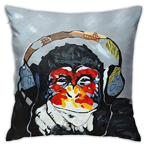 LUCKCHN Funda de almohada chimpancé escuchar música, funda de cojín para sofá, funda de almohada de 45,7 x 45,7 cm, sin relleno de almohada