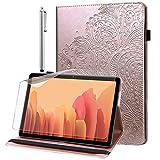 Hülle für Samsung Galaxy Tab A 8.0 2019 (SM-T290 / SM-T295) mit Schutzfolie & Stylus Stift - Ultra Dünn mit Standfunktion Flip Cover PU Leder Hülle (Roségold)