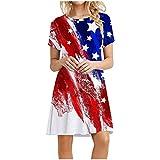 Casual Summer T Shirt Dress Loose Short Sleeve Swing Tunic Dress with Pocket for Women American Flag Mini Dress
