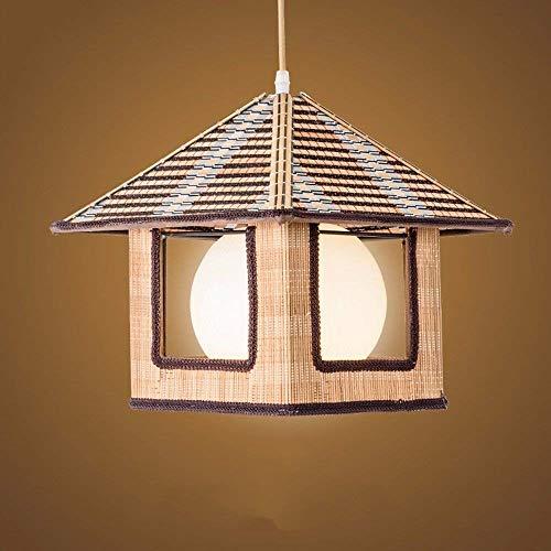 Kaper Go Lámpara De Ratán De Estilo Rústico Lámpara De Araña De Bambú Vintage Luz Trenzada Personalidad Lámpara Colgante Diámetro 36 * 29 Cm Decoración De Restaurante