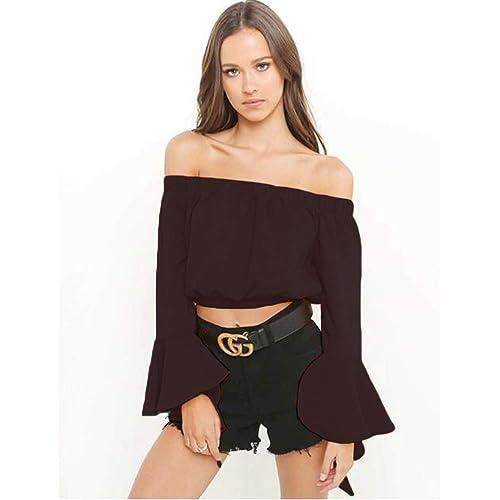 17f09d32d9235 Women s Casual Girls Crop Tops Shoulder Off Long Sleeve Banseau Chiffon  Blouse Shirts