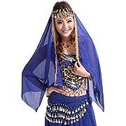 PanDaDa Belly Dance Veils Chiffon Shawl Wraps Head Scarf Headband with Coins