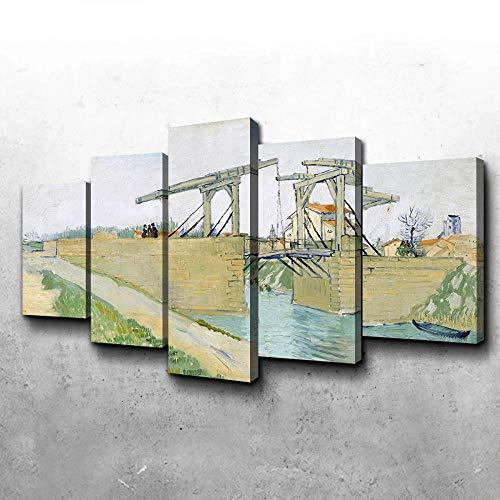 MENGLE Cuadro Decoración Arte Pared Salon Abstractos Hogar Moderno-Impresión En Lienzo 5 Piezas XXL-Mural No Tejido Impresión Artística Imagen Gráfica Puente De Langlois 150X80Cm