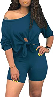 Women's Rainbows 2 Piece Outfit - Casual Short Sleeve T-Shirts Bodycon Shorts Set Jumpsuit Rompers