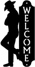 The Metal Peddler Leaning Cowboy Welcome Sign - 17 inch Tall