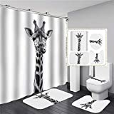 AIDEMEI Niedliche Giraffe Animal Print Duschvorhang wasserdichte Badezimmer Vorhang Sets Weiche Badematte Set Anti-Rutsch-Flanell Teppiche Home Decor 180X180CM