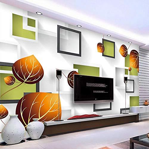 zhanghomey Foto Wallpaper 3D Stereo Geometrie Square Box Herbstlaub Große Wandmalerei Wohnzimmer Sofa Tv Hintergrund Wandbild-300X210Cm