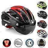 KINGLEAD Casco de Bicicleta con Luz de Seguridad y Visera de Protección, Casco de Ciclo Protegido Unisex Certificado CE...