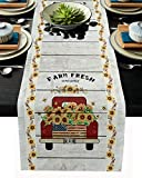 YESOF66 Christmas Farmhouse Table Runners, Truck with Sunflowers-Farm Fresh Sunflower on Rustic Wooden Board Table Runner for Dining, Wedding, Holiday Parties Decor 13x70 inch