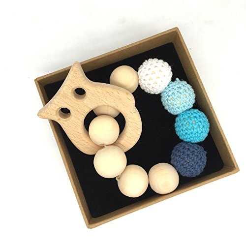 Coskiss Crochet chouette Perle Anneau de dentition Set non traitée Maple Teether avec Toy Bois organique Bois Bracelet bébé maman enfants en bois Teether Bangle (Couleur 1)