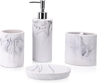 zccz Ensemble d'accessoires de salle de bain 4 pièces aspect marbre avec distributeur de savon, porte-brosse à dents, gobe...