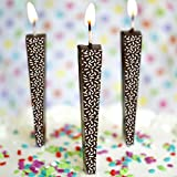 Premium Chocolate Birthday Candles, Edible Cake Topper, Non-Melting, Dark Chocolate, Sprinkles, Pack of 3