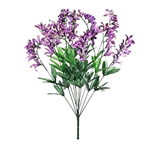 GF Artificial Silk Flowers Purple Color Freesia Bush Artificial Silk Flowers 22″ Bouquet MG019
