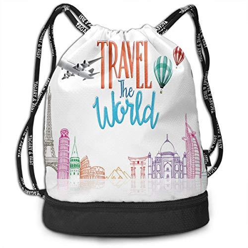 shenguang Kordelzug Rucksäcke Taschen, Reisen Sie die Welt Schriftzug mit rund um die Welt Wahrzeichen Luftballons Kunstwerk Bild, verstellbar