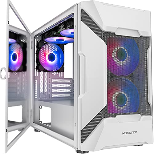 MUSETEX Mesh Micro-ATX Mid Tower Case with 5 PCS × ARGB Fans Pre-Installed and 2 PCS × USB 3.0 Ports, Magnetic Design Opening Tempered Glass Panel & Mesh Front Panel Gaming PC Case (White, MK7-WN5)