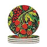 Posavasos de cerámica con diseño de fresas y frutos de uva, perfecto redondo, de cerámica, con base de corcho, protector para bar, cristal, regalo de inauguración, diámetro blanco, 4 unidades