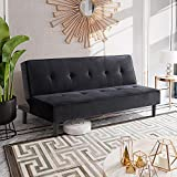 Shintenchi Modern Futon Sofa Bed, Velvet Fabric Folding Futon Couch Convertible Sofa Bed Sleeper Sofa Couch for Living Room, Apartment, Dorm, Office, Small Space, Black