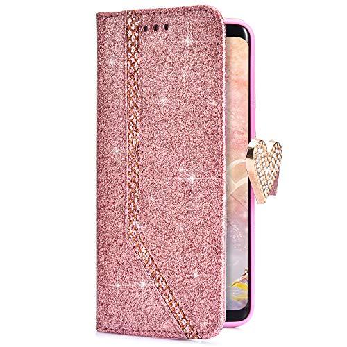 Funda Huawei P8 Lite 2017,Uposao Cárcasa Huawei P8 Lite 2017 Funda de Cuero Tipo Libro Piel PU Flip Case Cover Carcasa Soporte Plegable Funda Protectora Bumper Case Huawei P8 Lite 2017,Rose Gold