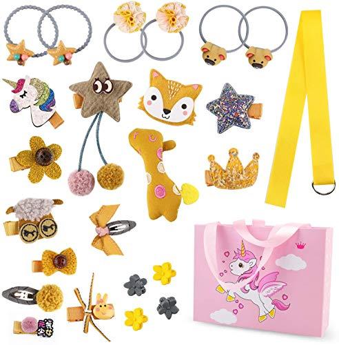Phogary - Lot de 24 pinces à cheveux pour filles, licorne, jolis nœuds, barrettes et accessoires, paquet cadeau