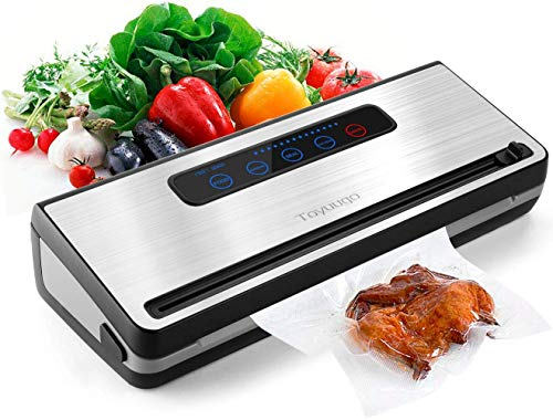 Vacuum Sealer Machine, Toyuugo Upgraded Automatic Food Sealer Saver Vacuum Packing Machine with Dry & Moist Food Modes and One Roll Bag for Food Preservation and Sous Vide