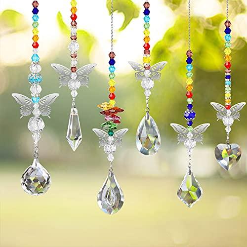 EEEKit 6 Stück Kristall Sonnenfänger Fenster Kristalle Licht Deko Anhänger, Kristall Glas Prisma Anhänger, Regenbogen Maker, Schmetterling hängedeko für Zuhause, Garten, Muttertagsdekoration