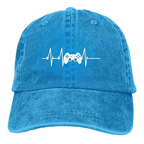 ONGH Gorra de béisbol Unisex Sombrero de Mezclilla de algodón Controlador de Videojuego Heartbeat Ajustable Snapback Cricket Cap