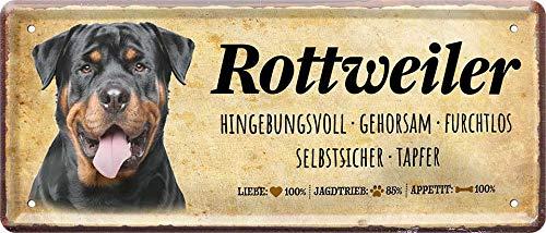 """Blechschilder Spruch und Motiv Hund """"Rottweiler"""" Deko Hundeschild Schild Hauseingang Eingang Tor Geschenk zum Geburtstag oder Weihnachten für alle Hundebesitzer 28x12 cm"""