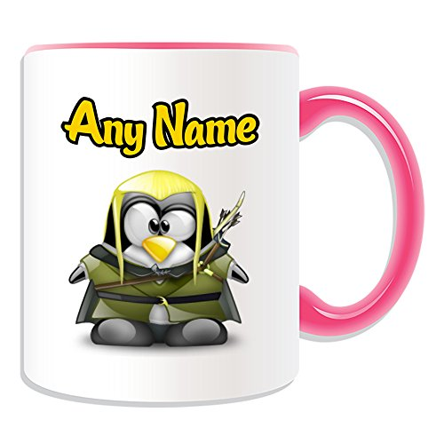 Personalised Gift - Legolas Mug (Penguin Film Character Design Theme, Colour Options) - Any Name / Message on Your Unique - Costume Movie Superhero Hero The Hobbit Lord of Rings Sindar Elf Woodland Realm Fellowship