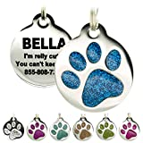 Engraved Pet Tag for Dogs & Cats - Personalized with 4 Lines of Custom Engraved ID, Round Paw Print...