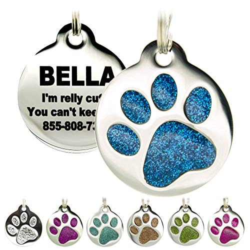 Engraved Cat Tags - Personalized with 4 Lines of Custom Engraved ID, Round Paw Print Stainless Steel Enameled in 6 Colors: Ocean Blue, Aquamarine, Deep Pink, Magenta, Pale Green, Amber
