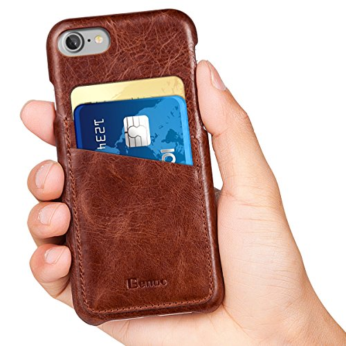 iPhone 8 Case,iPhone 7 Case, Benuo [Card Slot Vintage Series] Genuine Leather Soft Leather Case, 2 Card Slots, Ultra Slim Leather Case Back Cover for Regular iPhone 8/iPhone 7(Stylish Brown)